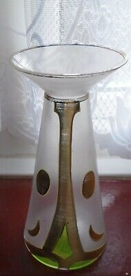 Rare Art Nouveau 6 Inch Vasaline Vase Gold Green Painted Tube Lined  • 7.99£