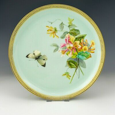 Royal Worcester Porcelain - Butterfly Painted Jewelled & Gilded Cabinet Plate • 3.20£