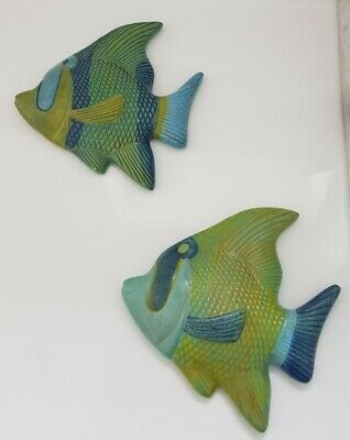 Vintage Wall Art Plaques Green And Blue Fish  Fabulous Kitch • 14.99£