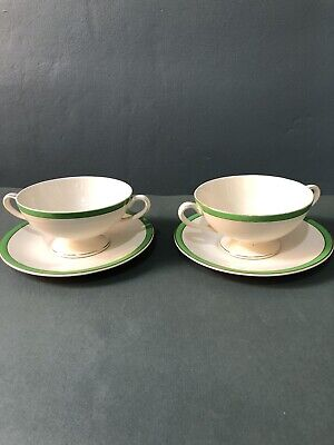 Solian Ware QUEENS GREEN Soho Pottery 2 X Soup Bowls And Plates VVGC • 30£