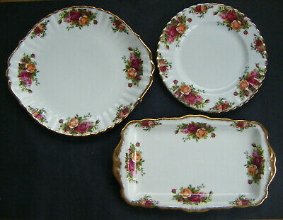 Royal Albert Old Country Roses 3 Cake / Sandwich Plates • 29.99£