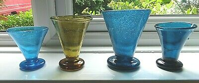 4 Vintage Antique Hand Blown Pontilled Conical Coloured Soda Drinking Glasses • 25£