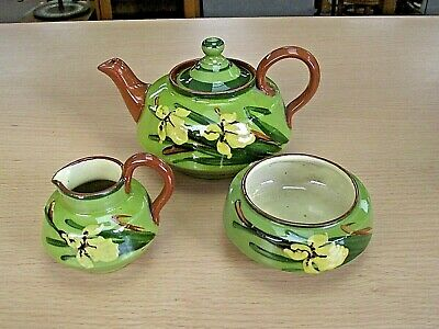 Beautiful Antique Watcombe Torquay Ware Tea Set - Iris Pattern • 125£