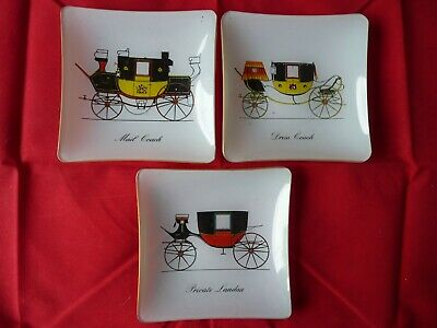 SET OF 3 CHANCE GLASS SQUARE DISHES- Carriages Of The 18th & 19th Centuries • 22.50£