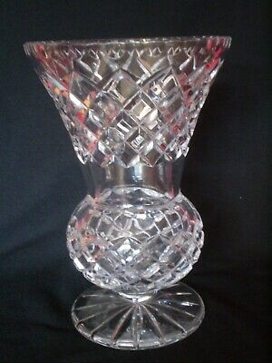 Stunning Vintage Cut Glass Thistle Design Vase....very Heavy • 7£