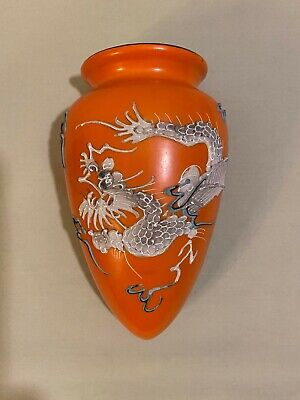 Nippon Ceramic Moriage Dragon Ware Wall Pocket Hanging Planter Vase Orange Japan • 30.67£