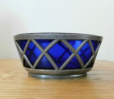 Pewter And Blue Glass Bonbon Dish Posy Bowl Whatnot 4.5 X 2.5 X 1.75 Inches VGC • 12£