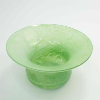 Monart Vasart Glass Posy Holder Vase Green Mottled Vintage 20th Century  • 25£