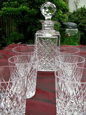 IRISH TYRONE CRYSTAL WHISKY DECANTER AND SIX WHISKY TUMBLERS 1st QUALITY MINT  • 99.95£