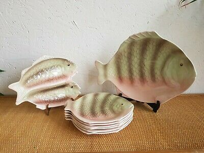 Stunning Shorter & Sons Fish Plate Set 8 Pieces Green/pink • 49.99£