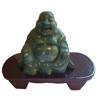 Chinese Jade Buddha - Hand Carved - Wooden Stand - Feng Shui - Gift Box - 11cm • 44£