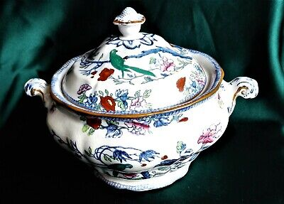 Vintage Booths Silicon China Green Parrot Serving Dish With Lid • 119£