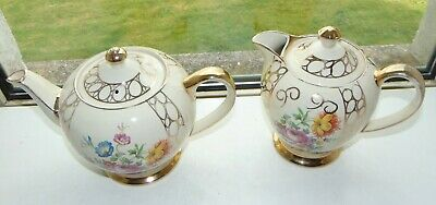 Vintage Sadler Pottery Floral And Gilt Teapot And Hot Water Jug C1940 Pat 1550 • 18.50£