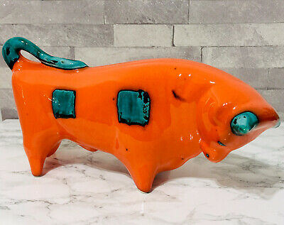 Vintage Bull Trentham Art Ware Orange & Turquoise By Colin Melbourne • 125£
