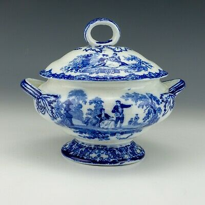 Antique Royal Doulton Burslem - Watteau - Flow Blue & White Transferware Tureen • 9£