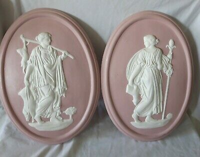 Decorative Neoclassical 15  Plaques In The Style Of Wedgwood Jasper Ware Pink  • 45£