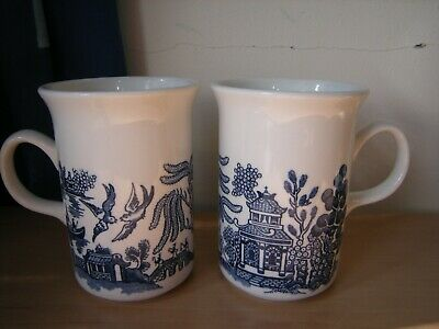 Two X Vintage Churchill  Blue Willow  Mugs. • 7.99£