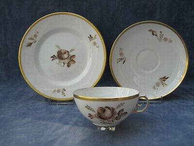 Royal Copenhagen Vintage Brown Rose Pattern Trio Cup,saucer And Tea Plate • 25£