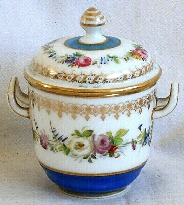 Late C19th Limoges Hand Painted Twin Handled Pot And Cover • 12£