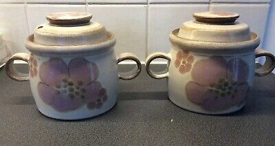 2 X Vintage Denby Gypsy Lidded Soup Bowls With Handles • 2.99£