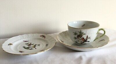 Vintage Herend Hungary Porcelain Rothschild Bird & Butterfly Cup & Saucer Plate • 10.49£
