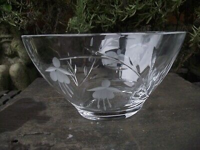 Stuart Crystal ? Oval Cut & Etched Glass Bowl Fuchsia Flower Pattern • 15£