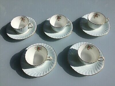 Five Minton Tea Cups And Saucers, Minton Marlow? 5438l - Cupboard Find • 30£