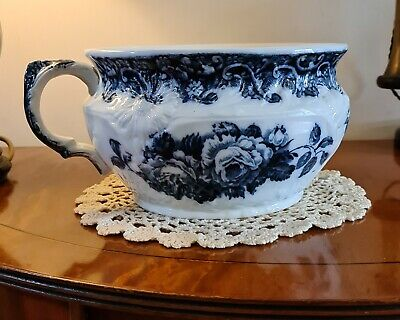 Royal Staffordshire Pottery Burlslem Baroness Flow Blue Antique Chamber Pot • 31£