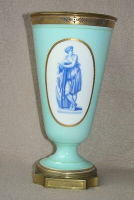 Antique Continental French St Louis Baccarat Opaline Glass & Ormolu Vase Prudhon • 195£