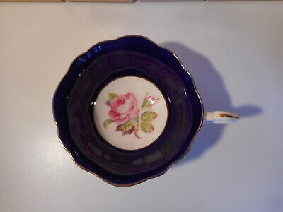 Paragon China Cobalt Blue Hand Painted Floating Pink Cabbage Rose Cabinet Cup • 35£