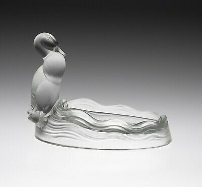Verlys Art Deco French Glass Vide Poche Dish With Duck And Pond C1930 • 125£