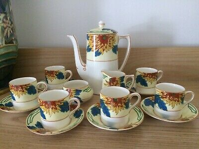 Vintage Art Deco Complete Crown Ducal Coffee Set - Rare Stylised Floral Pattern • 49.99£