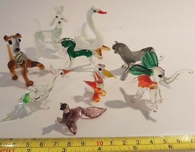 9 X Vintage Murano Glass Animals All Perfect Unicorn Tiger Pheasant Poodle Ect  • 7.95£