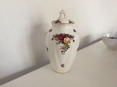 VINTAGE ROYAL ALBERT OLD COUNTRY ROSES LIDDED JAR FIRST QUALITY 10 Inch 1962 • 15.95£