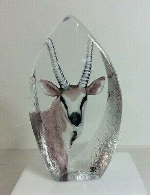 Mats Jonasson Crystal Antelope Figure Hand Painted Carved Sculpture Sweden • 9.99£