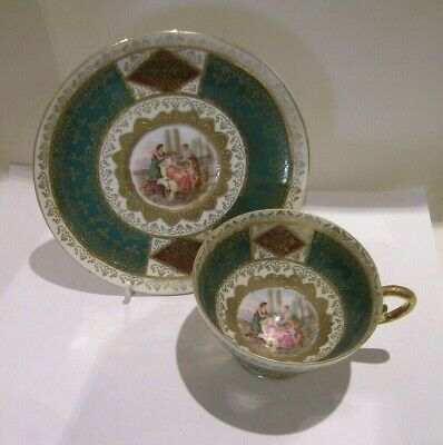 19thc Continental Cabinet Cup & Saucer Signed A.Kaufmann • 10£