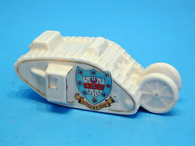 Shelley WWI Crested China Tank With Trailing Wheels - Woodbridge • 22.99£