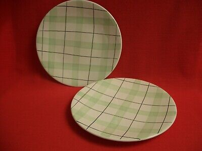 2 1950s WASHINGTON POTTERY ~ HARLEQUINADE CHECK ~ 9  SALAD / LUNCHEON PLATE • 21.99£