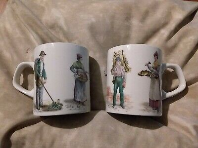 Pair (2 ) Vintage Mugs Holkham Pottery Cries Of London Street Sellers Full Size  • 12.99£