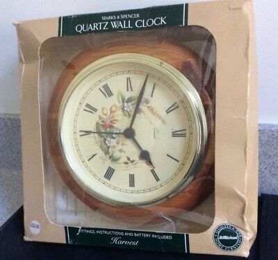 Marks & Spencer HARVEST Wall Clock, Unused, Boxed, Excellent Condition • 1£