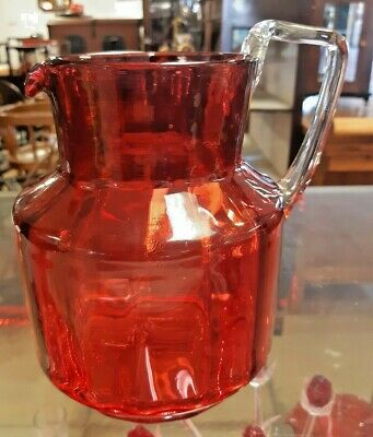 Large Victorian Cranberry Glass Ribbed Jug • 45£