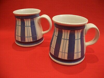 2 X The Monastery Rye Cinque Ports Pottery Hand Painted Blue & White Mugs • 14.99£