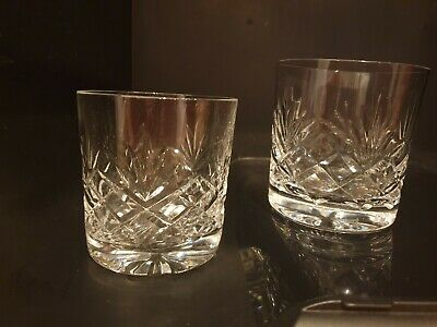 Set Of 2 Cut Crystal Whisky Glasses Tumblers VGC • 8£