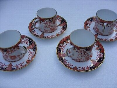 Royal Crown Derby Imari Fern Set Of 4 Coffee Cans & Saucers • 40£