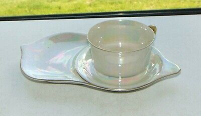 Vintage Pearl Lustre Breakfast Set Tennis Set Cup And Tray • 9£