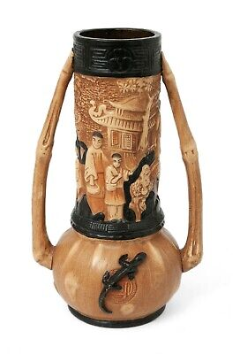 Antique Bretby (Tooth & Co) Oriental Ware Large Pottery Vase With Lizards • 49.99£