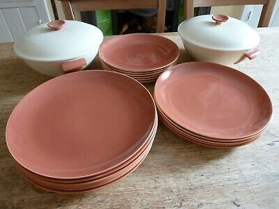 Poole Twintone C95 Red Indian & Magnolia 17 Plates & 2 Serving Bowls With Lids • 22£