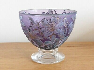 Jonathan Harris Studio Glass Trial Silver Cameo Lily Bowl 2003 .signed • 599£