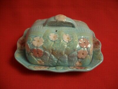 Mid Century H Wain Melba Ware Embossed ~~ Flowers & Leaves ~~ Blue Butter Dish • 17.99£