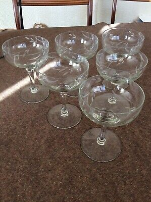 6 Vintage Cut Glass Dessert Dishes / Champagne Saucers Glasses Coupes • 21.50£